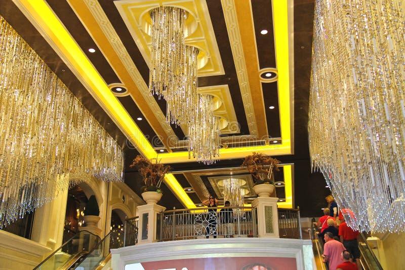 Hall och rulltrappaPalazzo hotell i Las Vegas royaltyfri bild