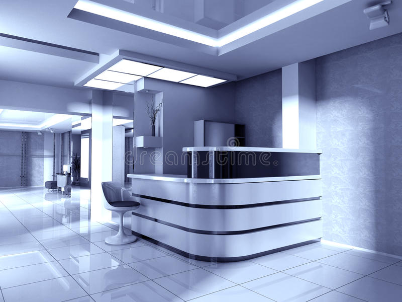 Hall at office. Modern interior of office 3d rendering