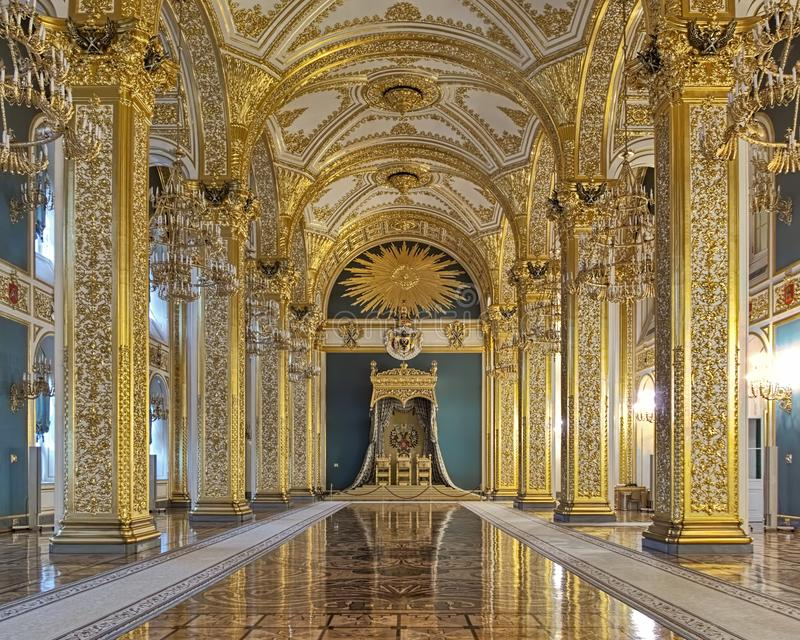 Andreyevsky Hall of the Grand Kremlin Palace in Moscow, Russia royalty free stock photography