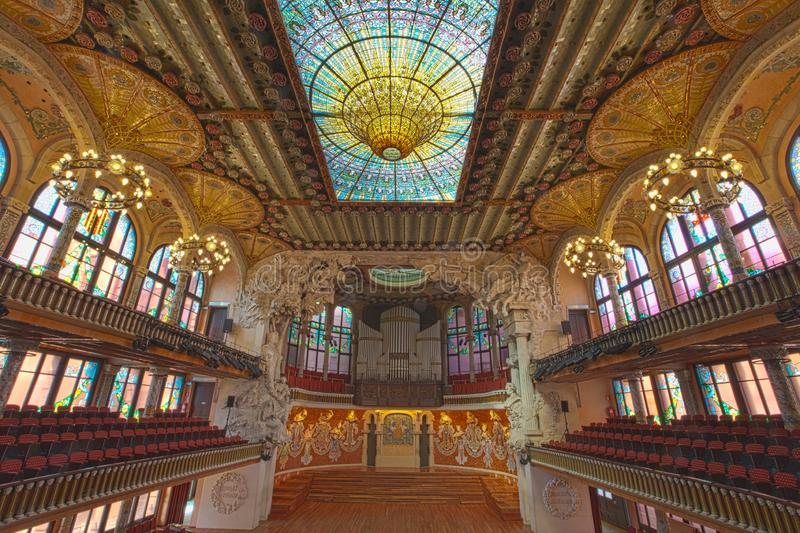 Hall at Palau de la musica catalana, Barcelona, Spain, 2014. Concert Hall inside Palau de la musica catalana in Barcelona, designed by Domenech de Montaner stock photography