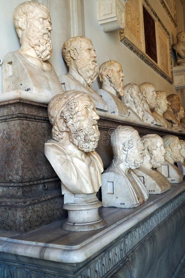 Hall of the Philosophers in Capitoline Museum of Rome, Italy. Hall of the Philosophers of Palazzo Nuovo part of the  Capitoline Museum of Rome, Italy. portraits stock images