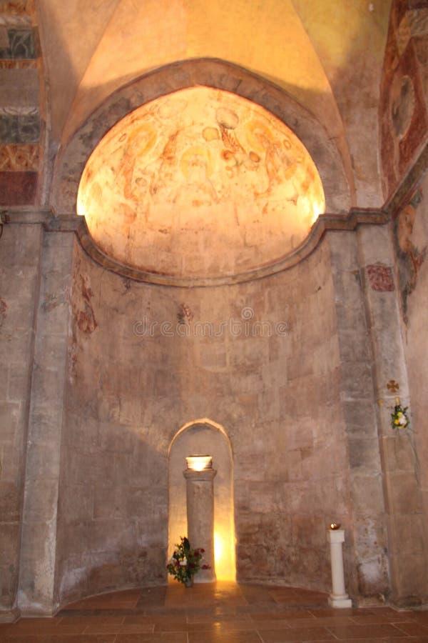 Indside The Benedictine monastery in Abu Ghosh. Hall of the prayers inside The Benedictine monastery in Abu Ghosh, Israel stock image