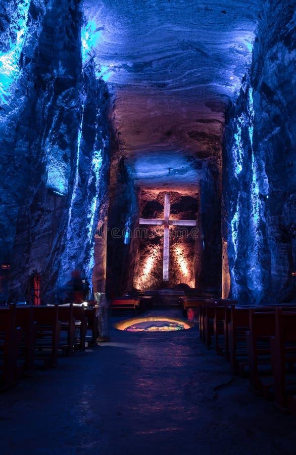 Hall principal de cathédrale souterraine de sel - Zipaquira, Colombie photo libre de droits