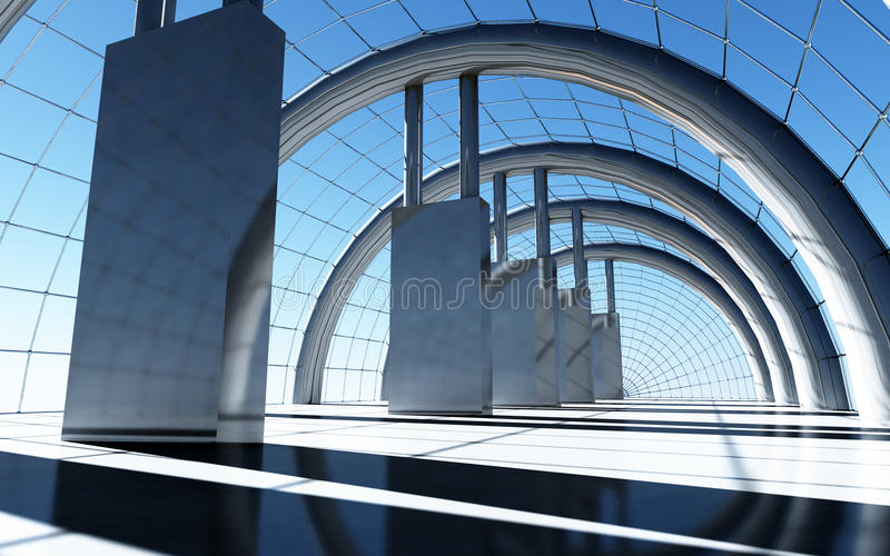 Hall In The Sky Daylight. A large and stylish solidly constructed futuristic hall in the sky in day time vector illustration