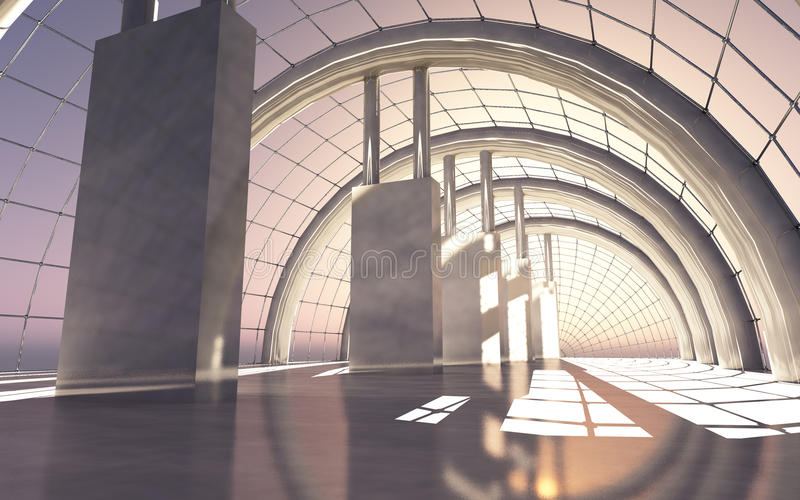 Hall In The Sky Sunset. A large and stylish solidly constructed futuristic hall in the sky royalty free illustration