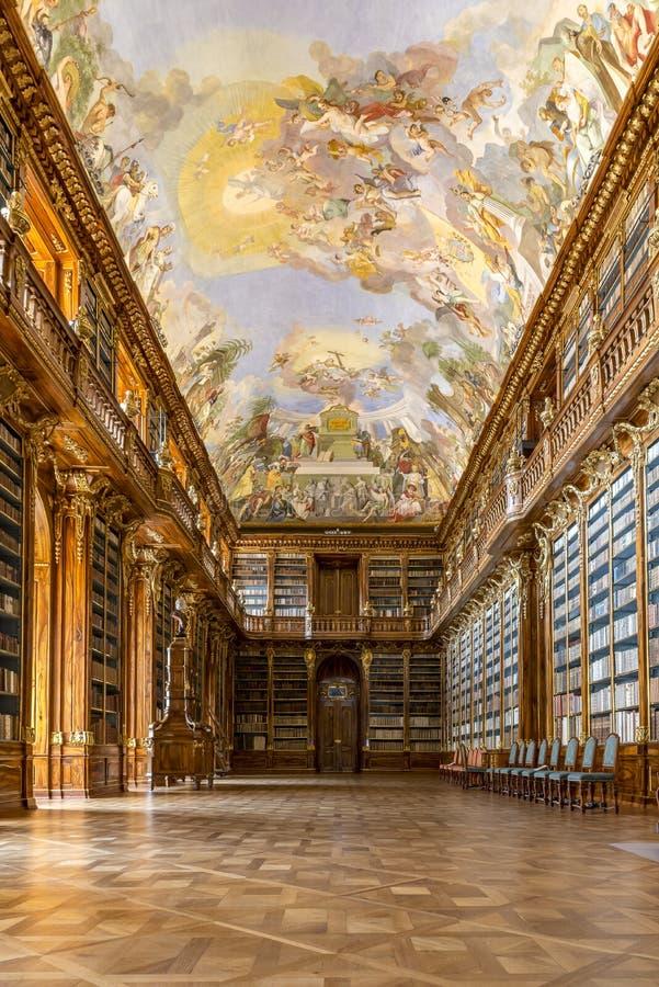 Hall Strahov Library Prague filosófico foto de stock