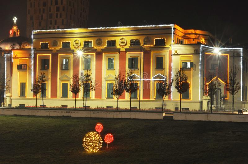 Hall of Tirana by night. Hall: designed by Florestano Di Fausto and Armando Brasini, both well-known architects of the Mussolini period in Italy royalty free stock images
