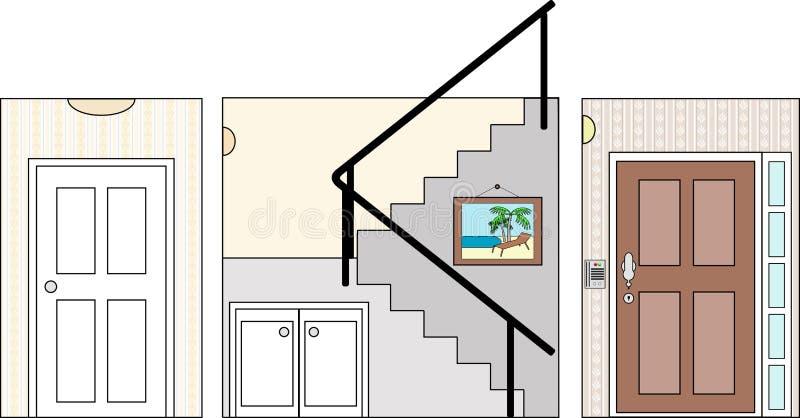 Hall trappa och tillträde royaltyfri illustrationer