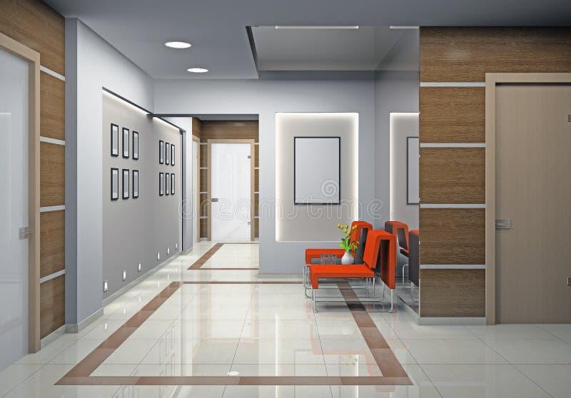 hall un bureau moderne illustration stock illustration du hall 21110016. Black Bedroom Furniture Sets. Home Design Ideas