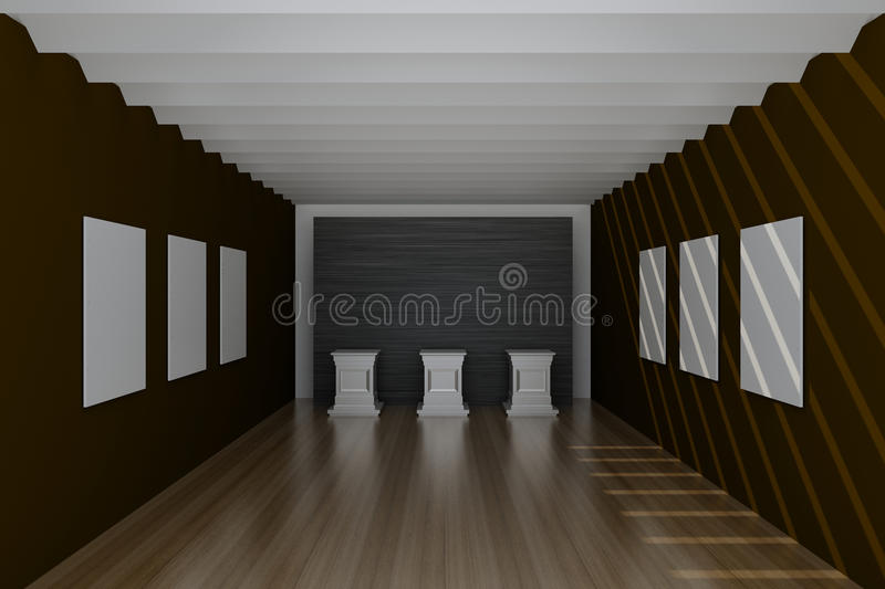 Hall vide de musée, rendu 3d illustration stock
