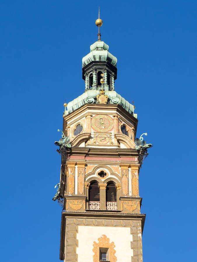 Hall w Tirol, serce Jezusowy kościelny wierza dzwon zdjęcie royalty free