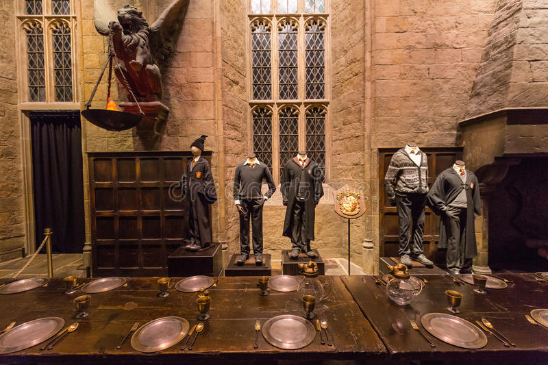 The Hall in the Warner Brothers Studio tour 'The making of Harry. Leavesden, London - March 3 2016: The Hall in the Warner Brothers Studio tour 'The making of stock images