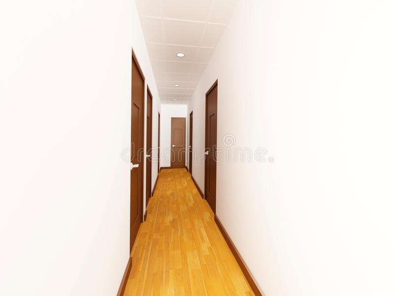 Hall With Wood Doors Stock Photos