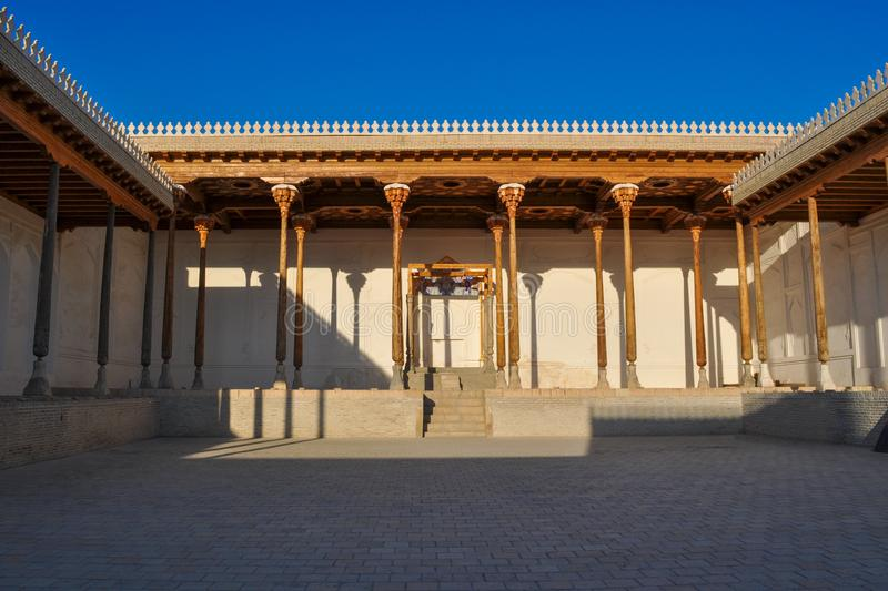 Hall with wooden columns of the ancient citadel in Bukhara `Ark citadel`. Hall with wooden columns of the ancient citadel in Bukhara `Ark citadel`, Uzbekistan royalty free stock photos