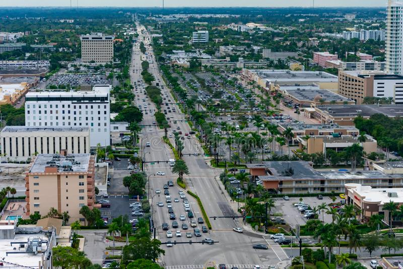 Hallandale City and its Boulevard stock image