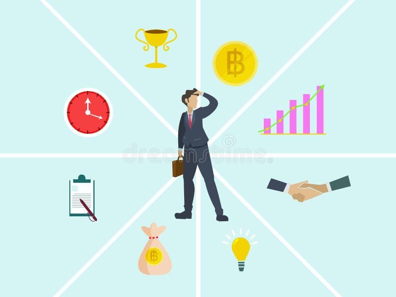 Hallazgo del concepto del negocio al éxito stock de ilustración