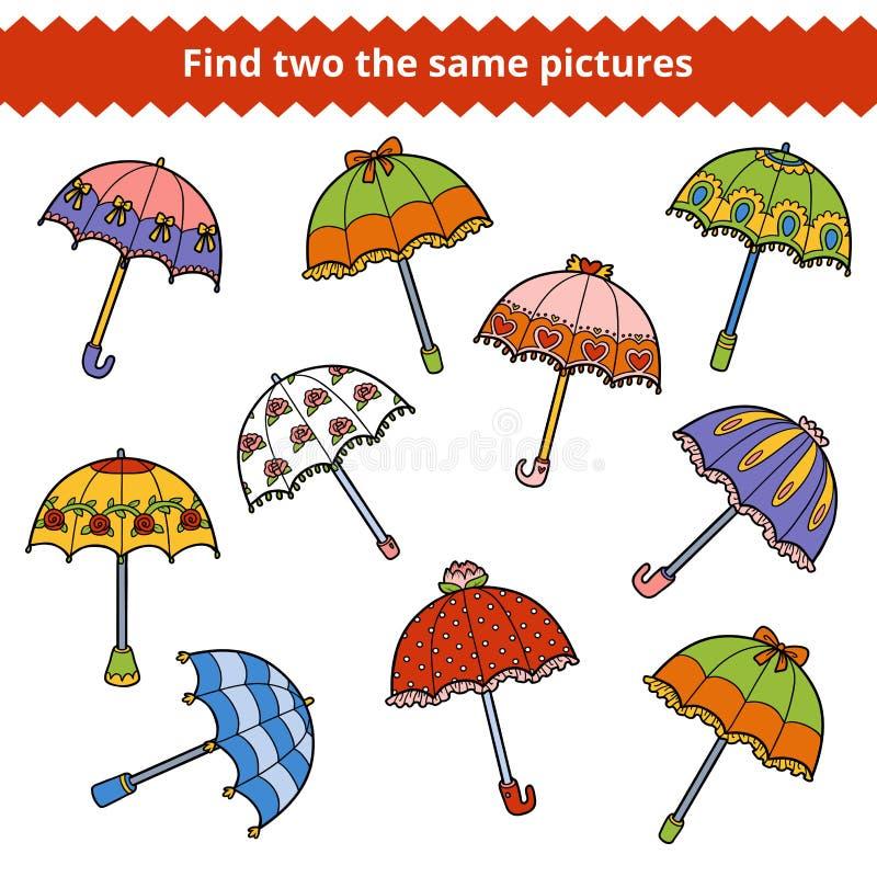Hallazgo dos las mismas imágenes Conjunto de paraguas ilustración del vector