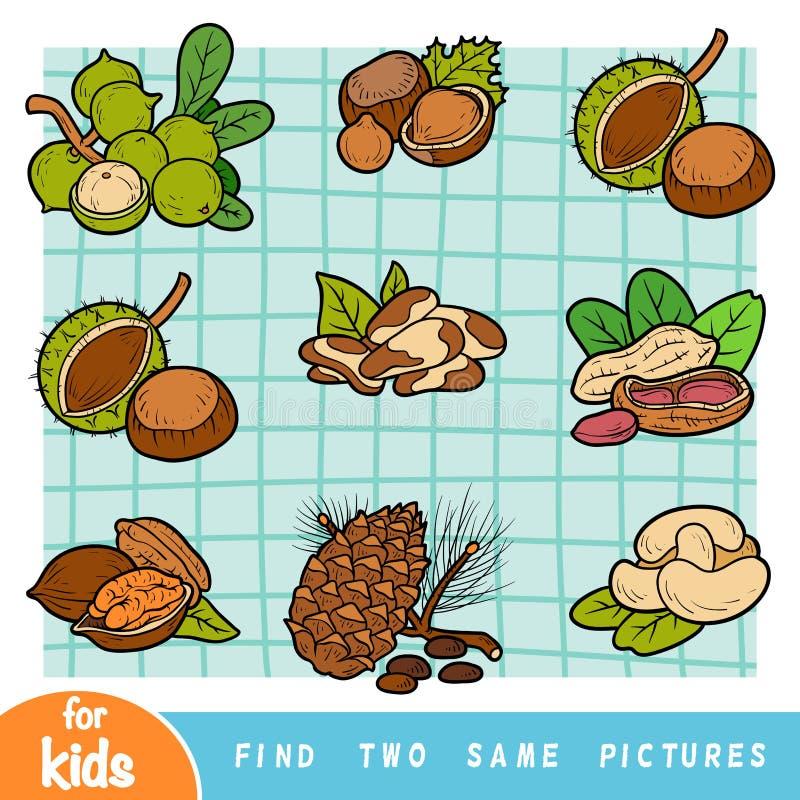 Hallazgo dos las mismas imágenes, juego de la educación  stock de ilustración