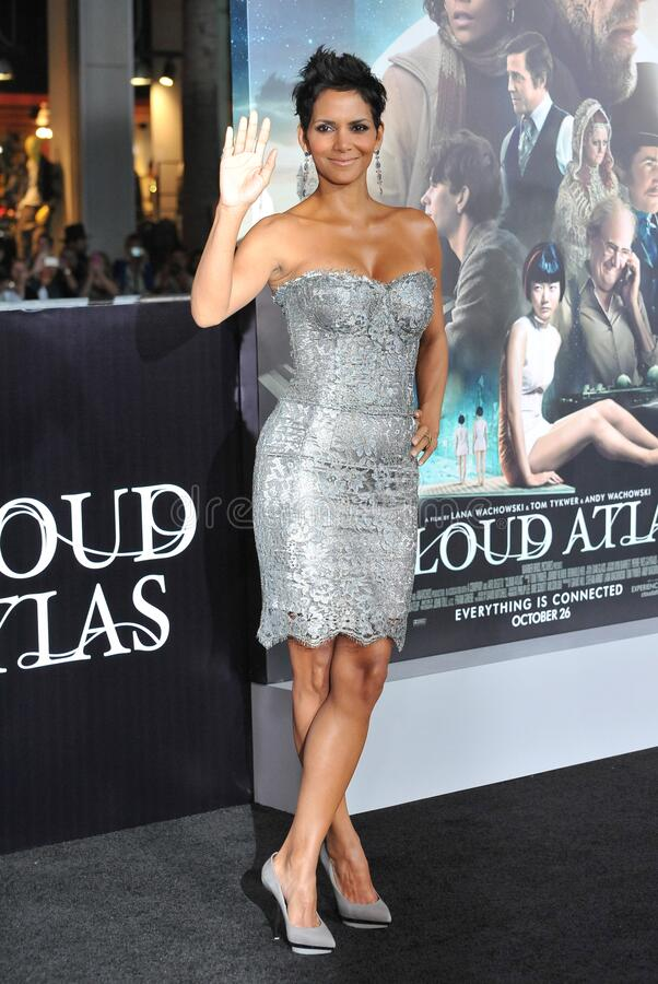 Halle Berry. LOS ANGELES, CA - October 24, 2012: Halle Berry at the Los Angeles premiere of her new movie \'Cloud Atlas\' at Grauman\'s Chinese Theatre stock photo