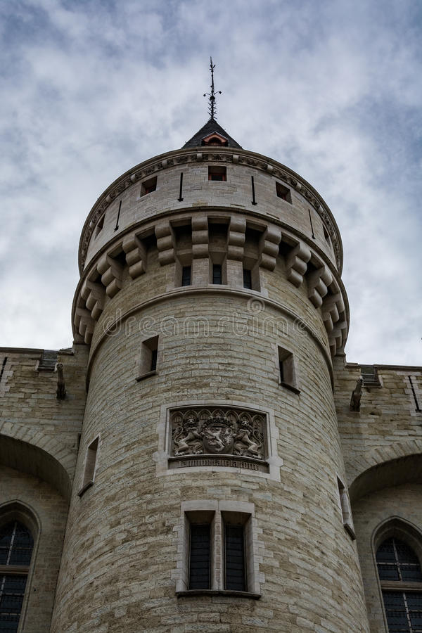 Halle Gate in Brussels on a cloudy day, Belgium stock photography