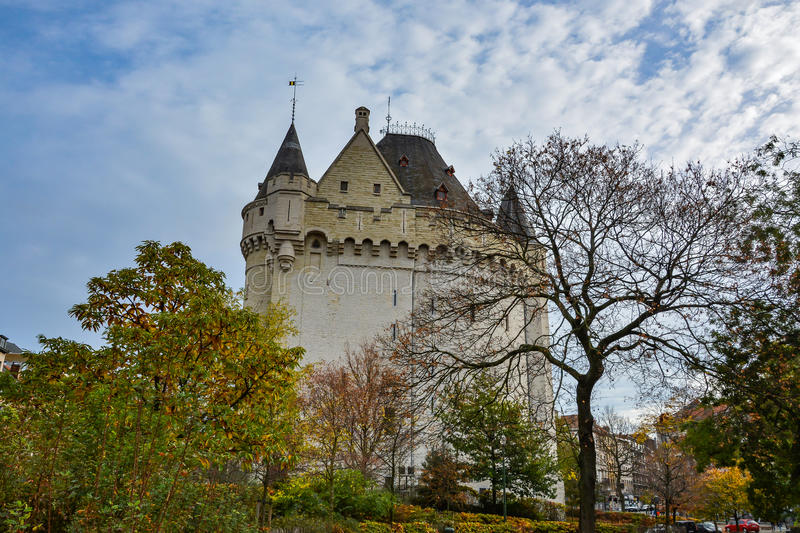 Halle Gate in Brussels on a cloudy day, Belgium stock images