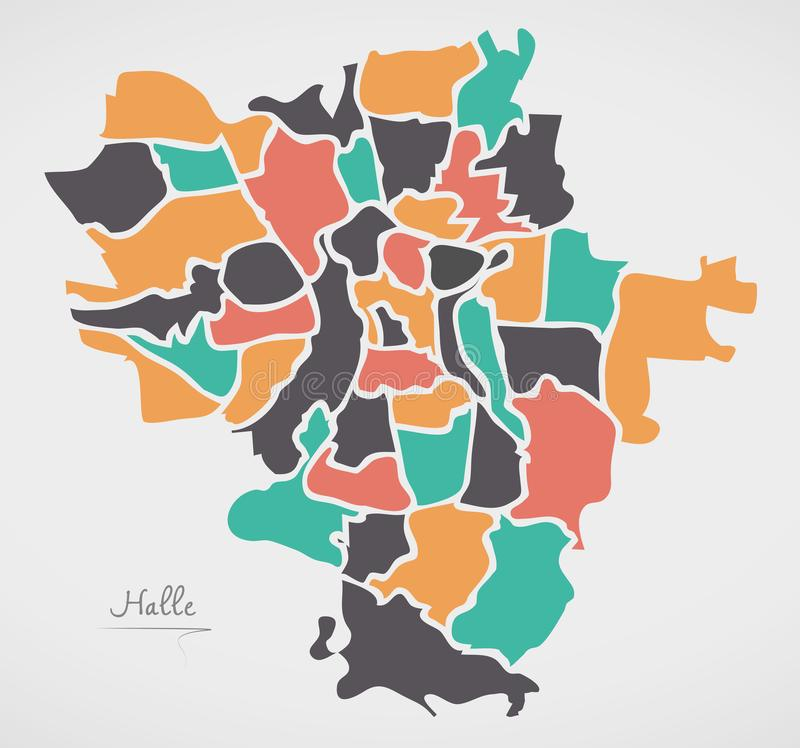 Halle Map with boroughs and modern round shapes. Illustration royalty free illustration