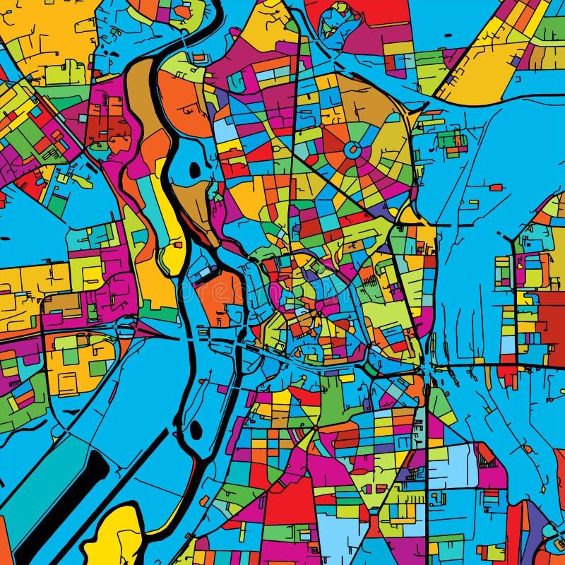 Halle Saale, Duitsland, Kleurrijke Vectorkaart op Zwarte vector illustratie