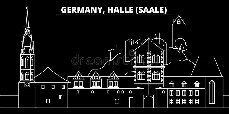 Halle Saale-silhouethorizon De vectorstad van Duitsland - van Halle Saale, Duitse lineaire architectuur, buildingtravel vector illustratie