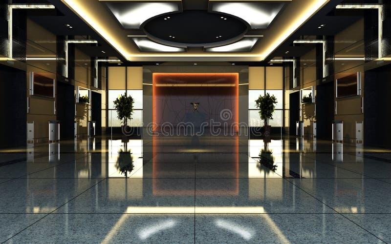 Hallen-Wiedergabe des Hotels 3d vektor abbildung