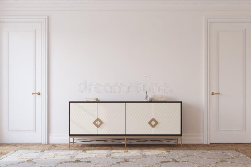 Halleninnenraum in der neoklassischen Art 3d übertragen lizenzfreie abbildung