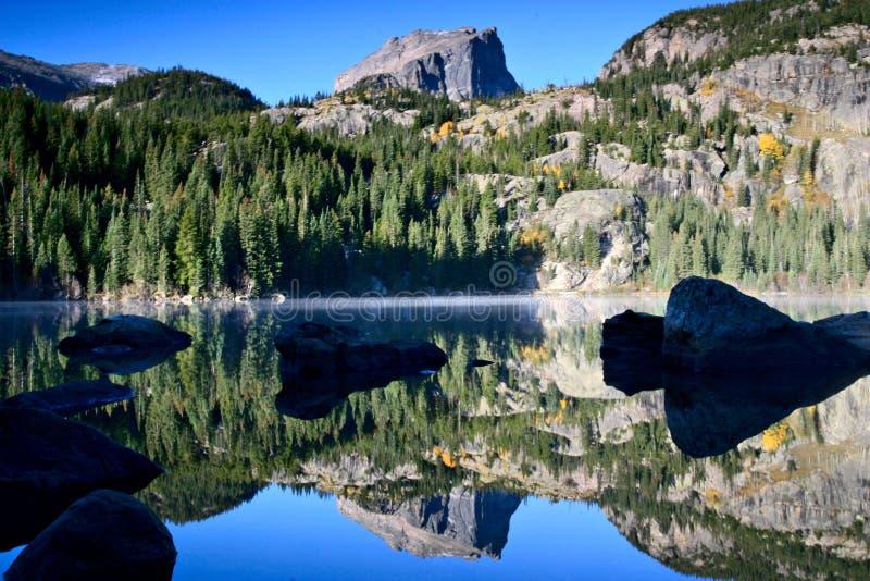 Hallett Peak reflection at Bear Lake stock photos