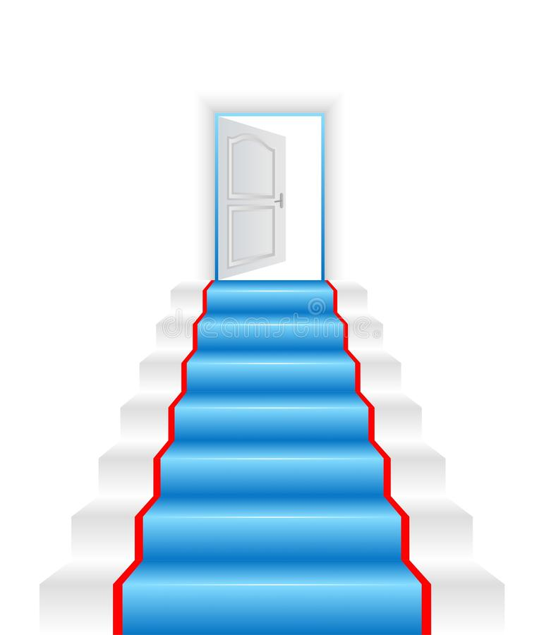 Hallf-open door to a new world. White ladder and opened door stock illustration