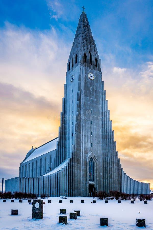 Hallgrimskirkja教会,雷克雅未克 免版税图库摄影