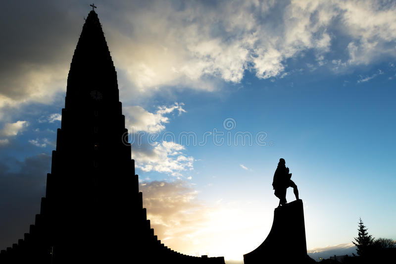 Hallgrimskirkja Cathedral and Leif Eriksson Statue royalty free stock photography