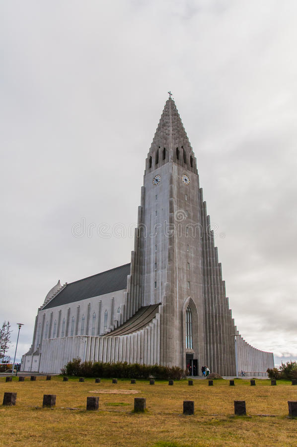 Hallgrimskirkja cathedral in Reykjavik, Iceland stock photo