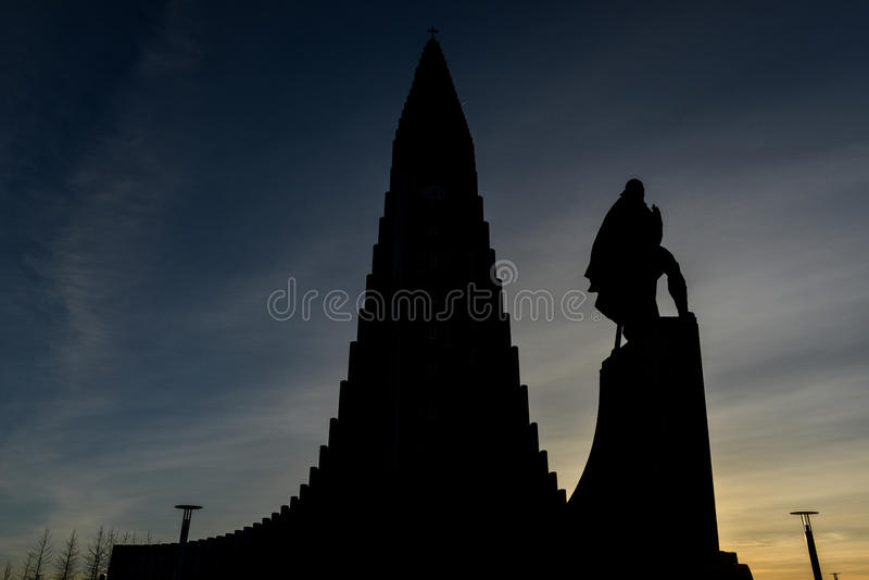 Hallgrimskirkja Cathedral in Reykjavik , Iceland royalty free stock photo