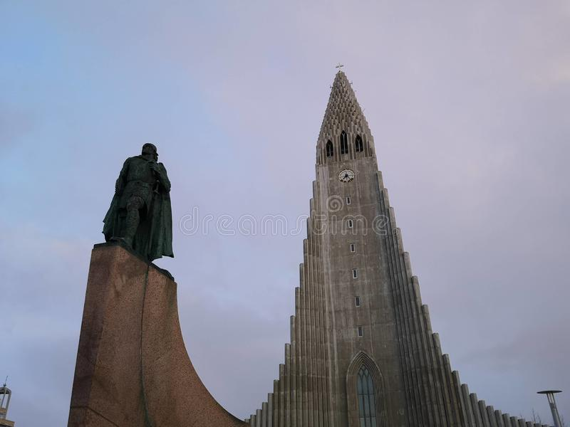 Hallgrimskirkja cathedral in reykjavik iceland royalty free stock photos