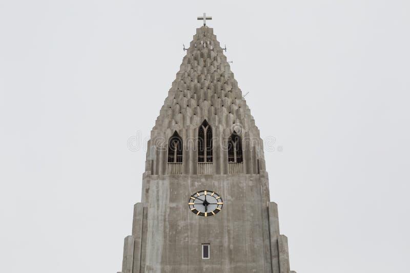 Hallgrimskirkja Cathedral in Reykjavik, Iceland. Steeple of Hallgrimskirkja Cathedral in Reykjavik, Iceland royalty free stock photography