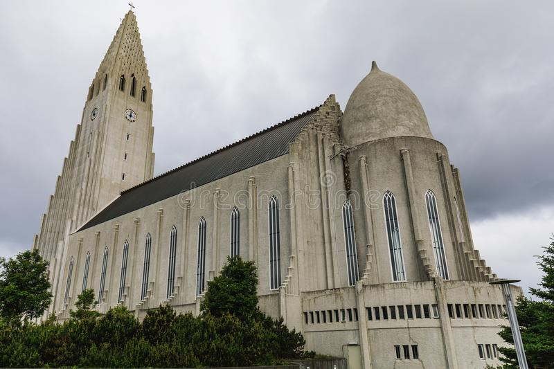 The Hallgrimskirkja church in reykjavik in iceland. On a cloudy day royalty free stock photos