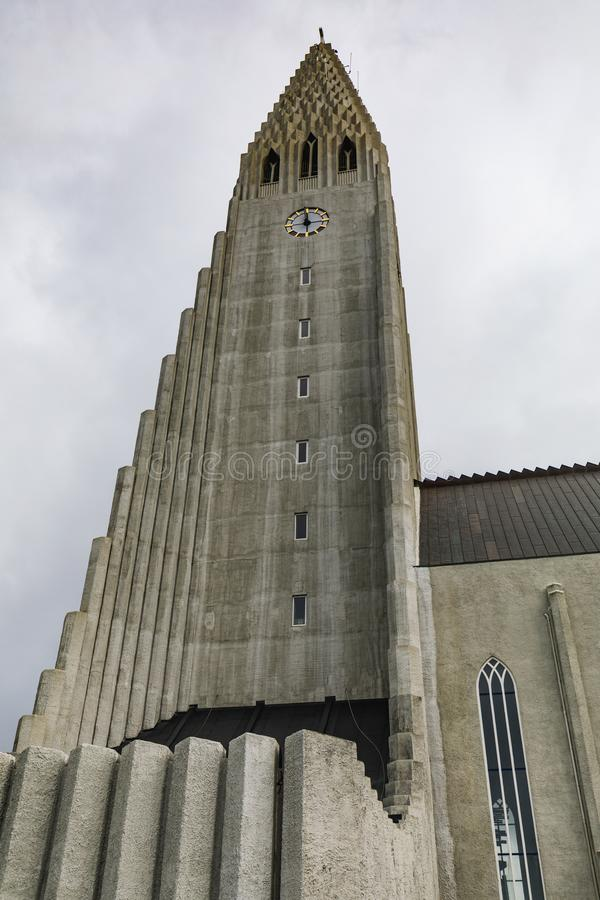 The Hallgrimskirkja church in reykjavik in iceland. On a cloudy day royalty free stock photography