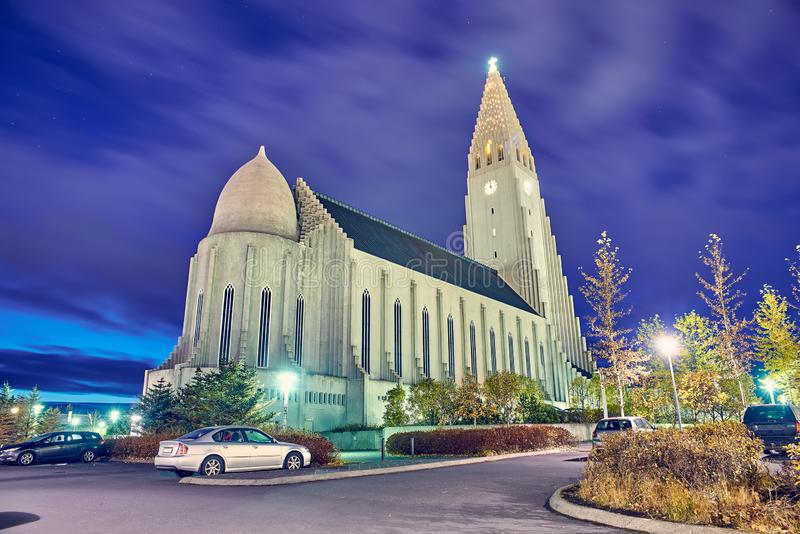 Hallgrimskirkja church in Reykjavik, Iceland. stock photo