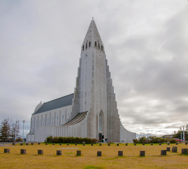 Hallgrimskirkja Church, Reykjavik,Iceland, with statue of Lief Erikson royalty free stock image