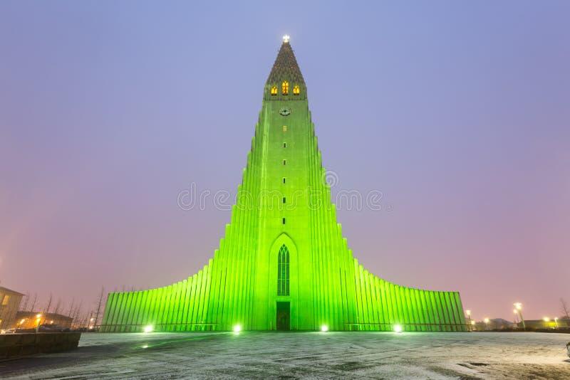 Hallgrimskirkja domkyrka Reykjavik Island arkivfoton