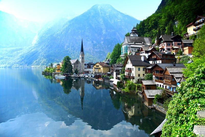 HallHallstatt, Upper Austria. Hallstadtt, little village on a lake, Upper Austria royalty free stock photo