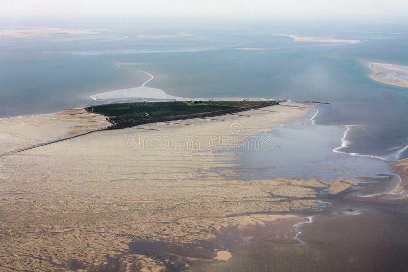 Hallig Suedfall, flygbild av den Schleswig-Holstein Wadden havsnationalparken royaltyfria bilder