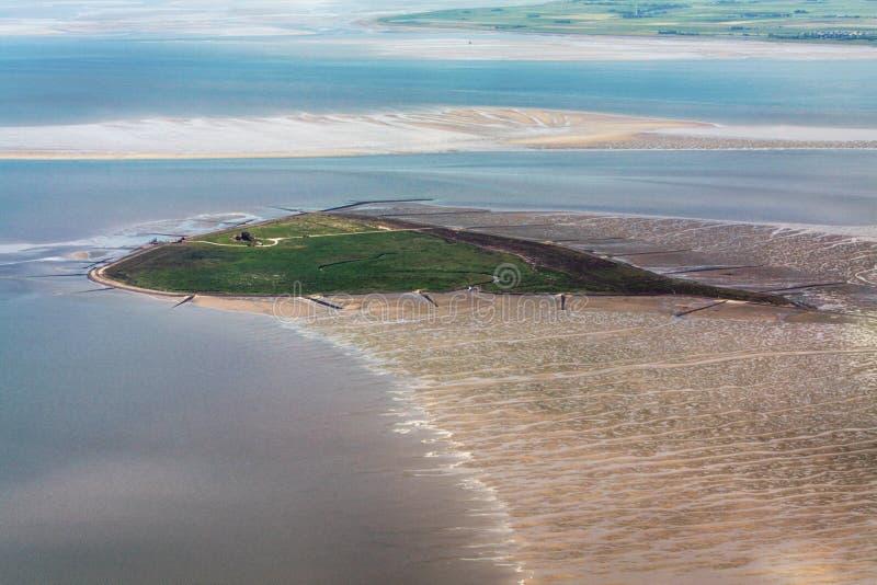 Hallig Suedfall, flygbild av den Schleswig-Holstein Wadden havsnationalparken fotografering för bildbyråer