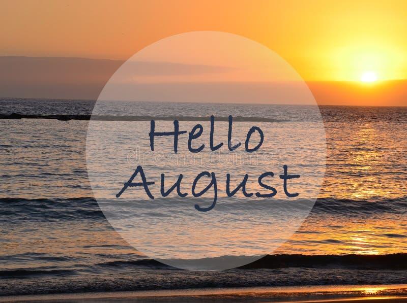 Hallo August-Gruß auf Ozeansonnenunterganghintergrund Seashells gestalten auf Sandhintergrund lizenzfreies stockbild