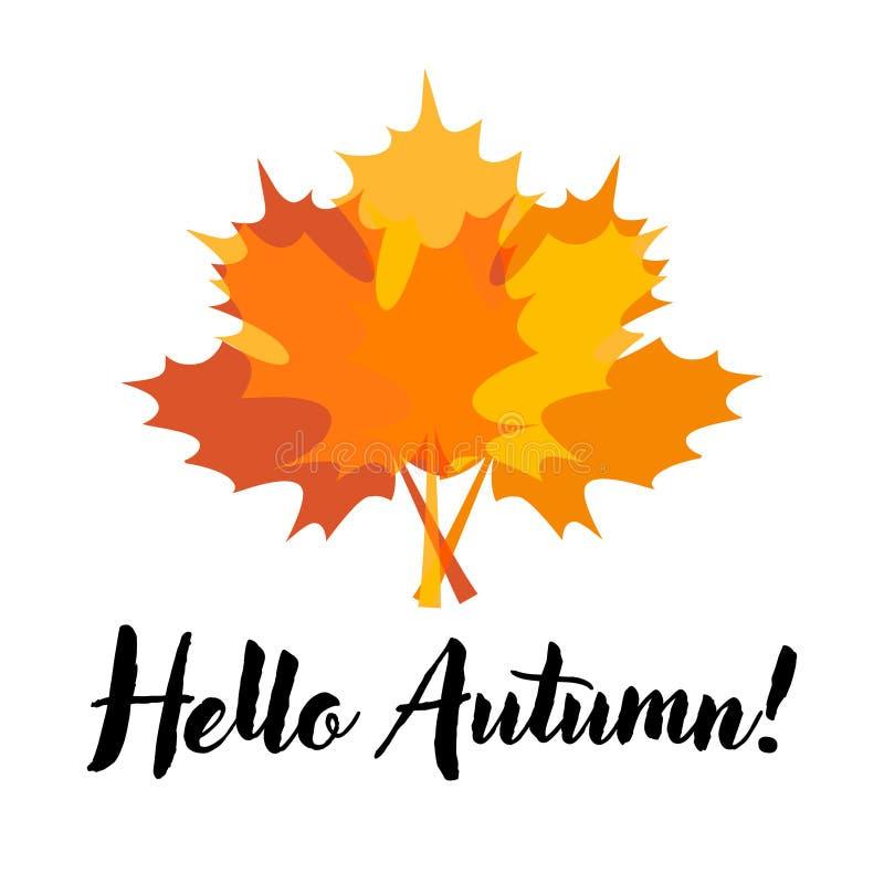 Hallo Autumn Card mit Ahornblättern stock abbildung