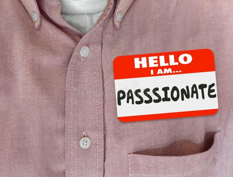 Hallo bin ich leidenschaftliches rotes Nametag-Hemd mitfühlendes engagiertes Ambitio vektor abbildung