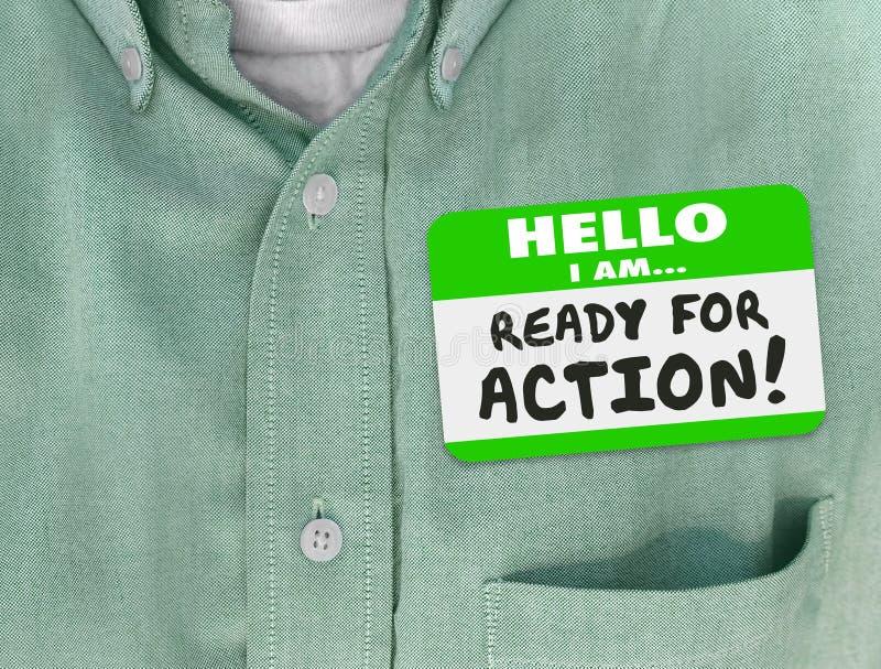Hallo bin ich zum Aktion Nametag-Grün-Hemd bereit stock abbildung